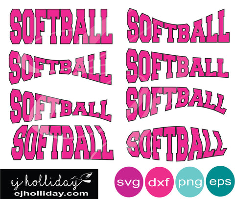 Softball Curved svg dxf png eps Vector Graphic Design Digital Cutting File Instant Download Cameo Silhouette Cricut