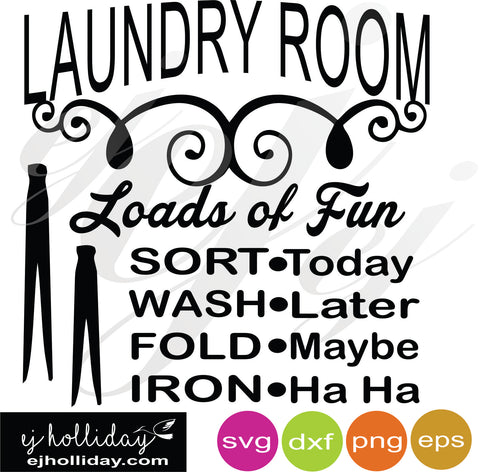 Sort Wash Fold Iron SVG EPS DXF PNG VECTOR Graphic Design Digital Cutting File Instant Download Cameo Silhouette Cricut