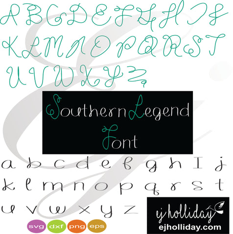 Southern Legend Font svg dxf eps png VECTOR Graphic Design Digital Cutting File Instant Download Cameo Silhouette Cricut