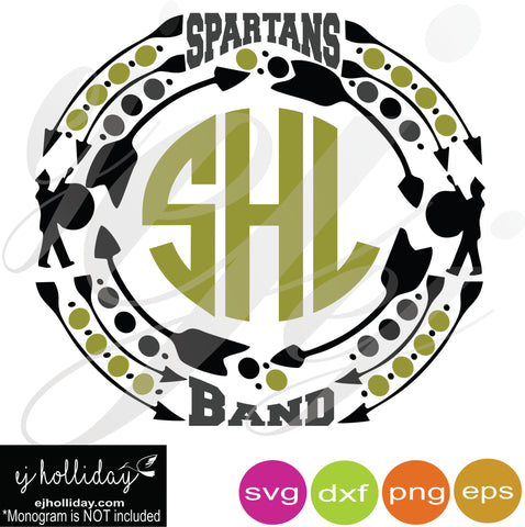 Spartans Band Monogram Frame SVG EPS DXF PNG VECTOR Graphic Design Digital Cutting File Instant Download Cameo Silhouette Cricut
