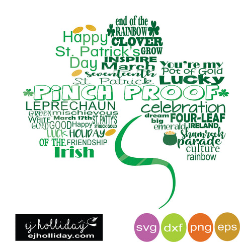 St. Patrick's Day Shamrock Pinch Proof svg dxf eps png Vector Graphic Design Digital Cutting File Instant Download Cameo Silhouette Cricut