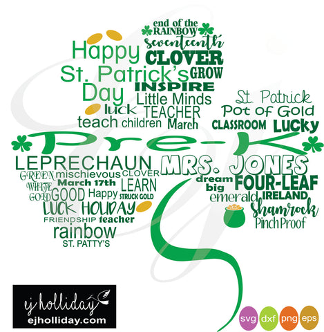 St. Patrick's Day Shamrock Pre-K svg dxf eps png digital cutting files