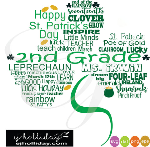 St. Patrick's Day Clover Ms. Irwin svg dxf eps png digital cutting files