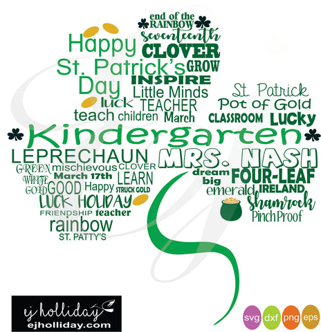 St. Patrick's Day shamrock Kindergarten svg dxf eps png digital cutting files
