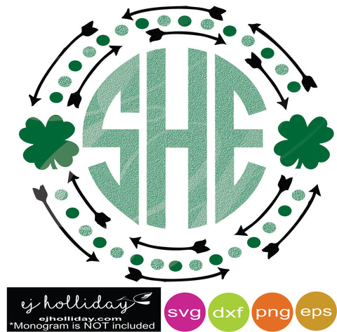 St. Patrick's Monogram with Arrows svg dxf eps png Vector Graphic Design Digital Cutting File Instant Download Cameo Silhouette Cricut