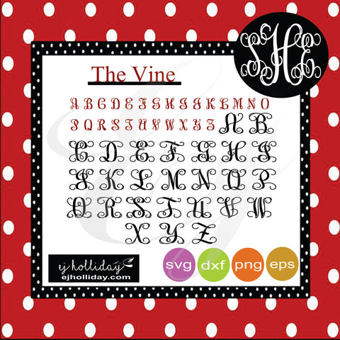 The Vine Alphabet Set svg dxf eps png Vector Graphic Design Digital Cutting File Instant Download Cameo Silhouette Cricut