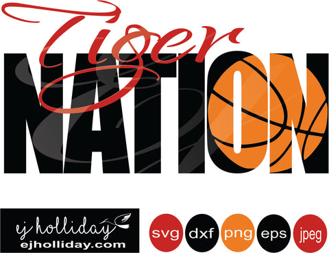 Tiger Nation Basketball Knockout 19 svg eps png dxf jpeg jpg vector Graphic Design Digital Cutting File Instant Download Cameo Silhouette Cricut
