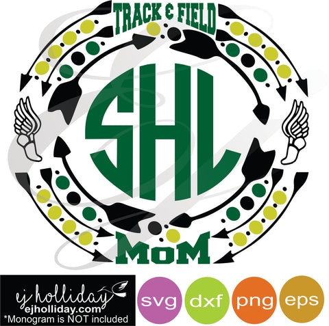 Track and Field Mom Sports Monogram Frame svg dxf eps png VECTOR Graphic Design Digital Cutting File Instant Download Cameo Silhouette Cricut