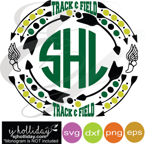 Track and Field Sports Monogram Frame svg dxf eps png VECTOR Graphic Design Digital Cutting File Instant Download Cameo Silhouette Cricut