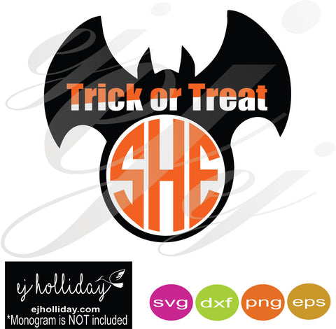 Trick or Treat Bat SVG EPS DXF PNG VECTOR Graphic Design Digital Cutting File Instant Download Cameo Silhouette Cricut