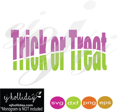 Trick or Treat Split Design SVG EPS DXF PNG VECTOR Graphic Design Digital Cutting File Instant Download Cameo Silhouette Cricut