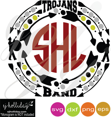 Trojans Band Monogram Frame SVG EPS DXF PNG VECTOR Graphic Design Digital Cutting File Instant Download Cameo Silhouette Cricut