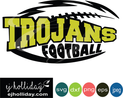 Trojans Football Layered Knockout svg dxf eps png jpeg jpg Vector Graphic Design Digital Cutting File Instant Download Cameo Silhouette Cricut