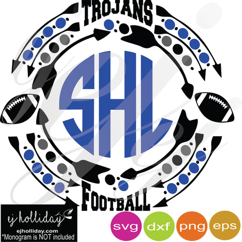 Trojans Football Monogram Frame SVG EPS DXF PNG VECTOR Graphic Design Digital Cutting File Instant Download Cameo Silhouette Cricut