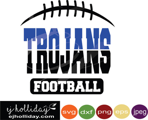 Trojans Ombre' Football svg eps jpeg jpg png dxf Graphic Design Digital Cutting File Instant Download Cameo Silhouette Cricut
