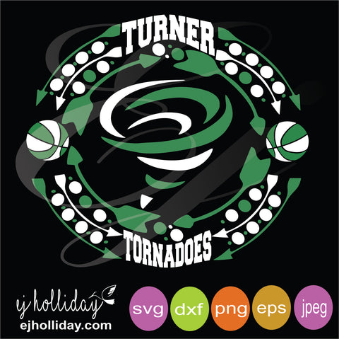 Turner Tornadoes Basketball svg dxf png eps  VECTOR Graphic Design Digital Cutting File Instant Download Cameo Silhouette Cricut