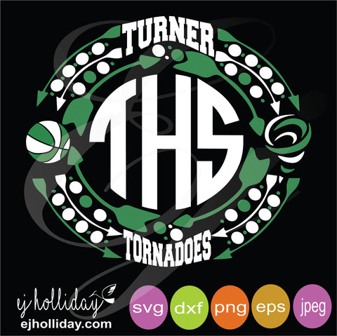 Turner Tornadoes Frame with THS Monogram svg dxf eps png Vector Graphic Design Digital Cutting File Instant Download Cameo Silhouette Cricut