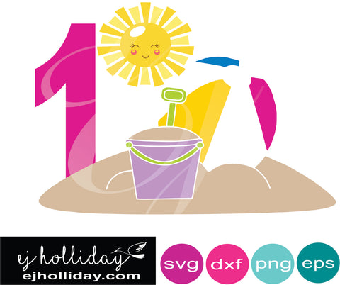 Turning 1 Beach Fun DC svg eps png dxf Graphic Design Digital Cutting File Instant Download Cameo Silhouette Cricut