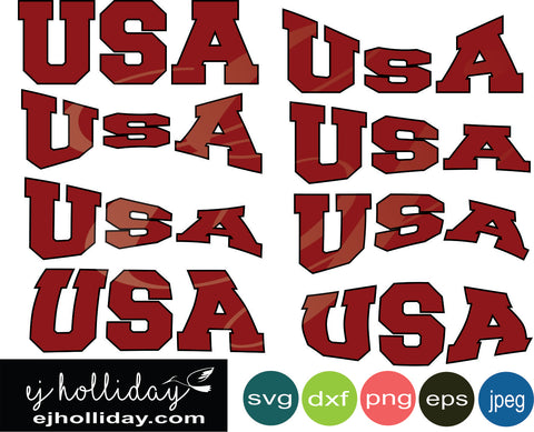 USA Curved svg eps dxf png jpeg jpg VECTOR Graphic Design Digital Cutting File Instant Download Cameo Silhouette Cricut