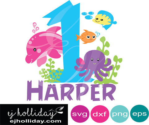 Under The Sea DC Harper SVG EPS DXF JPG JPEG VECTOR Graphic Design Digital Cutting File Instant Download Cameo Silhouette Cricut