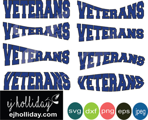 Veterans Curved svg eps dxf png jpeg jpg VECTOR Graphic Design Digital Cutting File Instant Download Cameo Silhouette Cricut