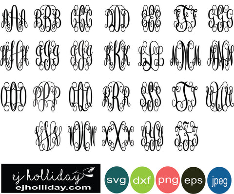 Vine Monogram A to Z all letters 19 svg eps png dxf jpeg jpg vector Graphic Design Digital Cutting File Instant Download Cameo Silhouette Cricut