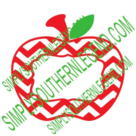 Apple Chevron Monogram SVG Instant Download Silhouette Cricut PDF JPEG JPG  DXF Digital Cutting Design
