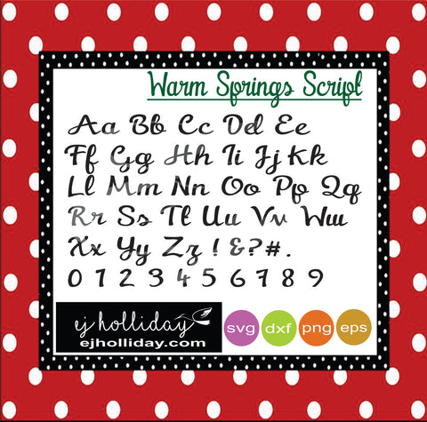 Warm Springs Script svg dxf eps png Vector Graphic Design Digital Cutting File Instant Download Cameo Silhouette Cricut