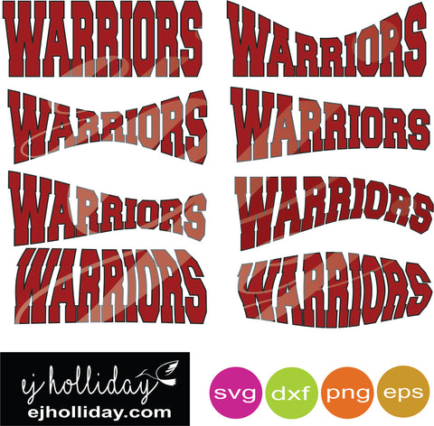 Warriors curved svg dxf eps png Vector Graphic Design Digital Cutting File Instant Download Cameo Silhouette Cricut