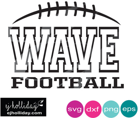 Wave Football DC SVG EPS DXF JPG JPEG VECTOR Graphic Design Digital Cutting File Instant Download Cameo Silhouette Cricut