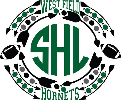 West Field Hornets Football Monogram SVG EPS DXF JPG JPEG VECTOR Graphic Design Digital Cutting File Instant Download Cameo Silhouette Cricut