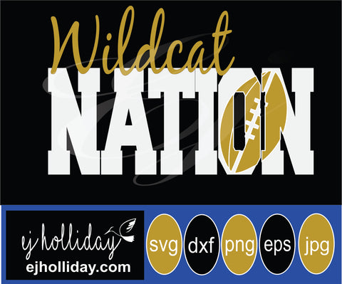 Wildcat Football Nation 19 svg eps png dxf jpeg jpg vector Graphic Design Digital Cutting File Instant Download Cameo Silhouette Cricut
