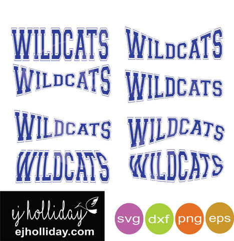 Wildcats Curved College Outline SVG EPS DXF PNG VECTOR Graphic Design Digital Cutting File Instant Download Cameo Silhouette Cricut
