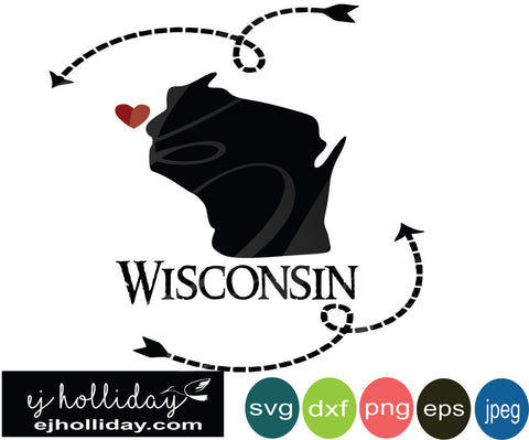 Wisconsin silhouette heart arrows 19 svg eps png dxf jpeg jpg vector Graphic Design Digital Cutting File Instant Download Cameo Silhouette Cricut