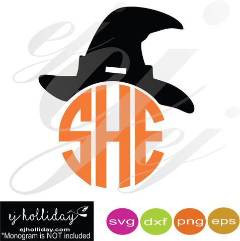 Witch Hat monogram SVG EPS DXF PNG VECTOR Graphic Design Digital Cutting File Instant Download Cameo Silhouette Cricut