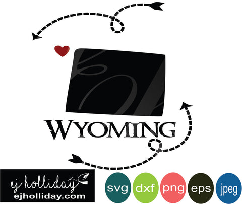 Wyoming silhouette heart arrow 19 svg eps png dxf jpeg jpg vector Graphic Design Digital Cutting File Instant Download Cameo Silhouette Cricut