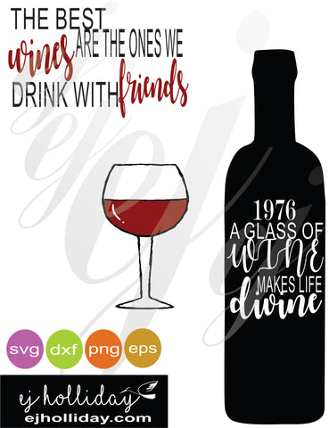a glass of wine SVG EPS DXF PNG VECTOR Graphic Design Digital Cutting File Instant Download Cameo Silhouette Cricut