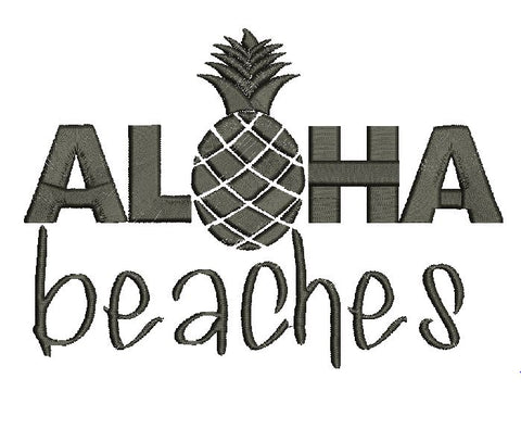Aloha Beaches MED Machine Embroidery Design 5X7