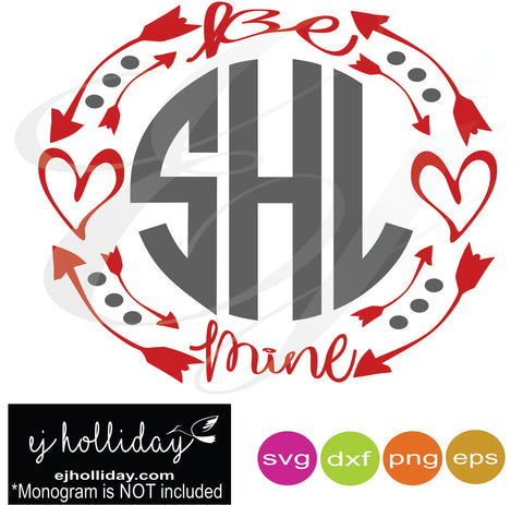 be mine hearts valentine monogram frame svg dxf eps png Vector Graphic Design Digital Cutting File Instant Download Cameo Silhouette Cricut