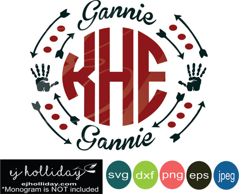 gannie monogram frame with hands svg eps jpeg jpg png dxf Graphic Design Digital Cutting File Instant Download Cameo Silhouette Cricut