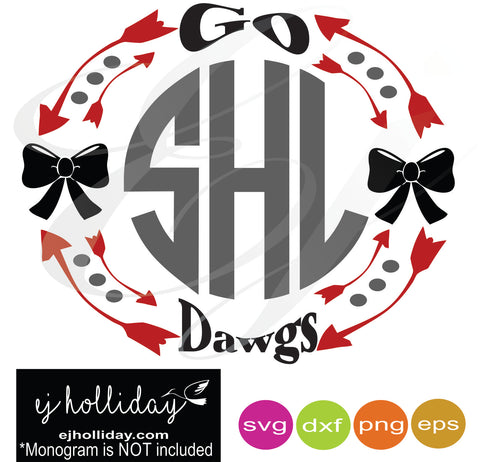 go dawgs monogram frame svg dxf eps png Vector Graphic Design Digital Cutting File Instant Download Cameo Silhouette Cricut