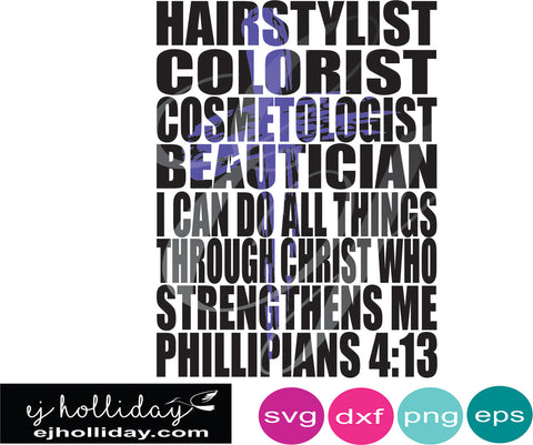 hairstylist colorist with cross knockout design SVG EPS DXF JPG JPEG VECTOR Graphic Design Digital Cutting File Instant Download Cameo Silhouette Cricut