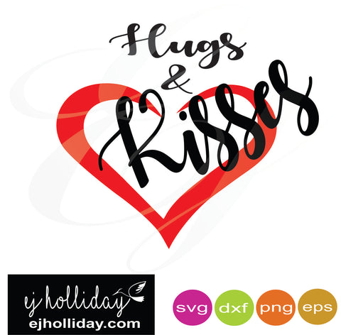 hugs and kisses with heart svg dxf eps png Vector Graphic Design Digital Cutting File Instant Download Cameo Silhouette Cricut