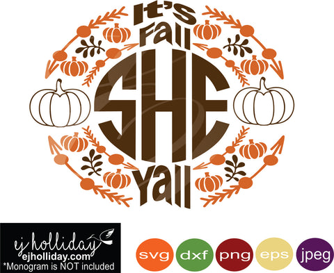 It's fall y'all pumpkins branches monogram svg eps png dxf jpeg jpg digital cutting file