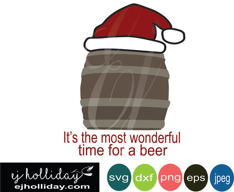 its the most wonderful time for beer SVG EPS DXF JPG JPEG VECTOR Graphic Design Digital Cutting File Instant Download Cameo Silhouette Cricut