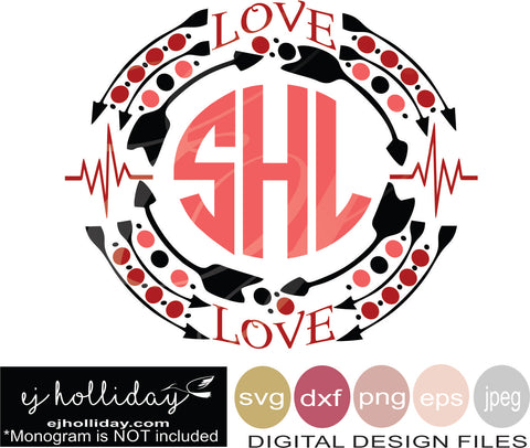 love medical heart beat monogram frame svg eps png dxf jpg jpeg vector Graphic Design Digital Cutting File Instant Download Cameo Silhouette Cricut