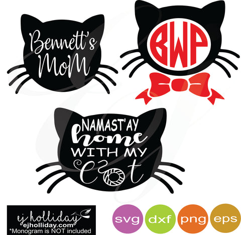 namastay home with my cat svg dxf eps png Vector Graphic Design Digital Cutting File Instant Download Cameo Silhouette Cricut