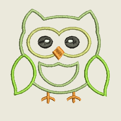 Owl Machine Embroidery Design 4X4