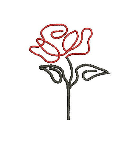 RED ROSE MachineEmbroidery Design 4X4