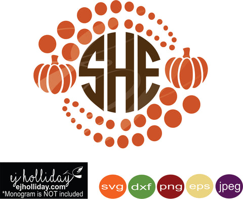 pumpkins circles monogram svg eps png dxf jpeg jpg vector Graphic Design Digital Cutting File Instant Download Cameo Silhouette Cricut